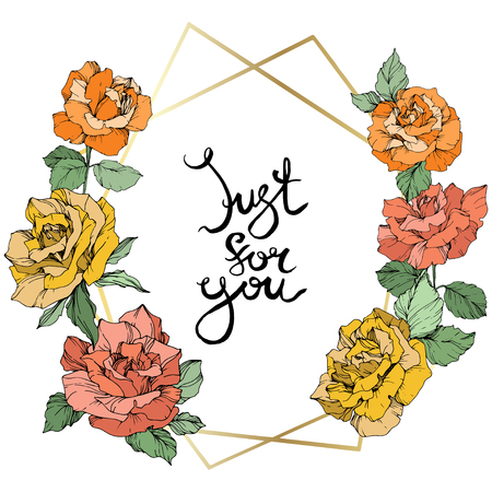 Vector Rose flower golden crystal frame. Orange, yellow and coral engraved ink art. Geometric crystal polyhedron shape on white background. Just for you handwriting monogram calligraphy.
