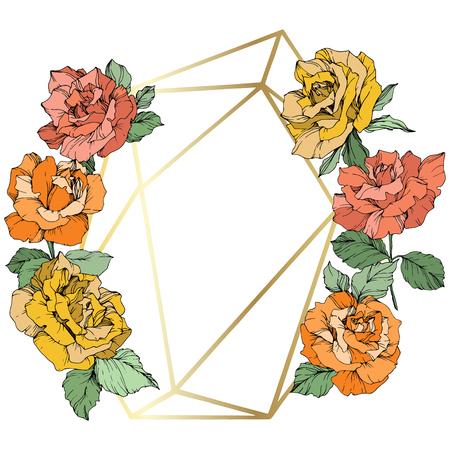 Vector Rose flower golden crystal frame. Orange, yellow and coral engraved ink art. Geometric crystal polyhedron shape on white background. Illustration