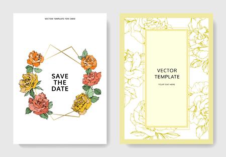 Vector de flores color de rosa. Frontera floral de la tarjeta del fondo de la boda. Gracias, rsvp, banner de conjunto gráfico de ilustración de tarjeta elegante de invitación. Arte de tinta grabada naranja, verde y amarilla.