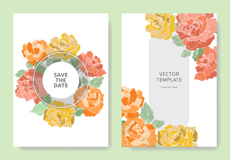 Vector Rose flowers. Wedding background card floral border. Thank you, rsvp, invitation elegant card illustration graphic set banner. Orange, green and yellow engraved ink art.