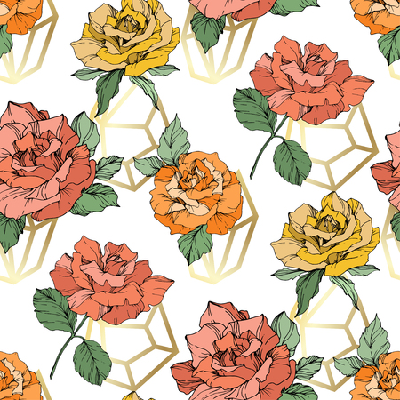 Vector Orange, yellow and coral rose. Floral botanical flower. Engraved ink art. Seamless background pattern. Fabric wallpaper print texture on white background. 版權商用圖片 - 125017435