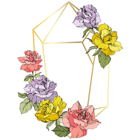 Vector Rose flower golden crystal frame. Pink, yellow and purple engraved ink art. Geometric crystal polyhedron shape on white background. Иллюстрация