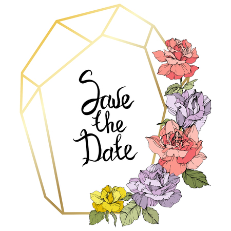 Vector Rose flower golden crystal frame. Yellow, purple and pink engraved ink art. Geometric crystal polyhedron shape on white background. Save the Date handwriting monogram calligraphy.