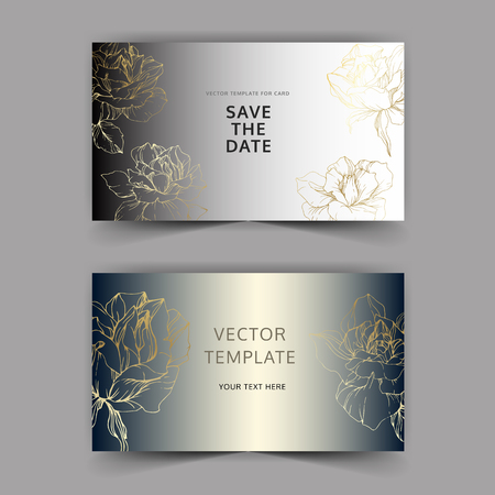 Vector Golden rose flower on silver card. Wedding background card floral decorative border. Thank you, rsvp, invitation elegant card illustration graphic set banner. Engraved ink art.