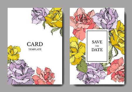 Vektor Rosa, gelbe und purpurrote Rosenblume auf der Karte. Hochzeit Hintergrundkarte floral dekorative Grenze. Danke, Rsvp, Einladung elegante Kartenillustrations-Grafiksatzfahne. Gravierte Tintenkunst.