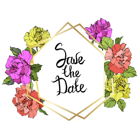 Vector Rose flower golden crystal frame. Coral, yellow and purple engraved ink art. Geometric crystal polyhedron shape on white background. Save the Date handwriting monogram calligraphy. Illustration