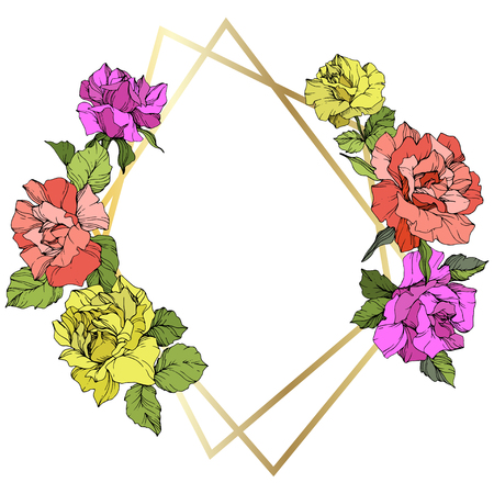 Vector Rose flower golden crystal frame. Coral, yellow and purple engraved ink art. Geometric crystal polyhedron shape on white background.