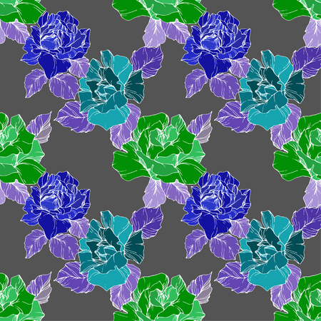 Vector Blue and green Rose. Floral botanical flower. Wild spring leaf wildflower isolated. Black and white engraved ink art. Seamless background pattern. Fabric wallpaper print texture. Vettoriali
