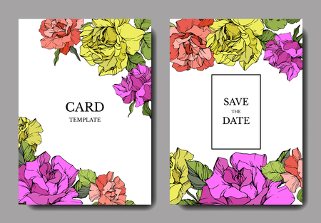 Vector Coral, yellow and purple rose flower on the card. Wedding background card floral decorative border. Thank you, rsvp, invitation elegant card illustration graphic set banner. Engraved ink art.