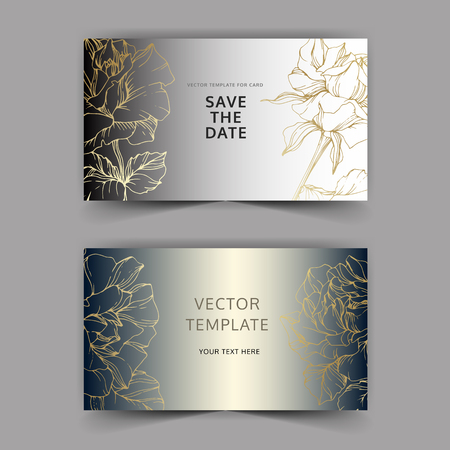 Vector Golden rose flowers on silver card. Wedding background card floral decorative border. Thank you, rsvp, invitation elegant card illustration graphic set banner. Engraved ink art.