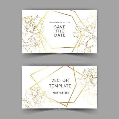 Vector Golden rose flowers on the card. Wedding background card golden crystal border. Thank you, rsvp, invitation elegant card illustration graphic set banner. Engraved ink art.