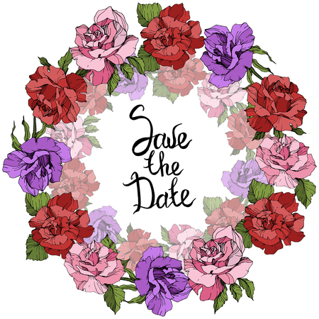 Vector Rose floral wreath. Floral botanical flower. Pink, red and purple engraved ink art. Save the Date handwriting monogram calligraphy.