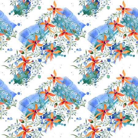 Blue ahd orange floral botanical flower. Watercolour drawing fashion aquarelle isolated. Standard-Bild - 117442952