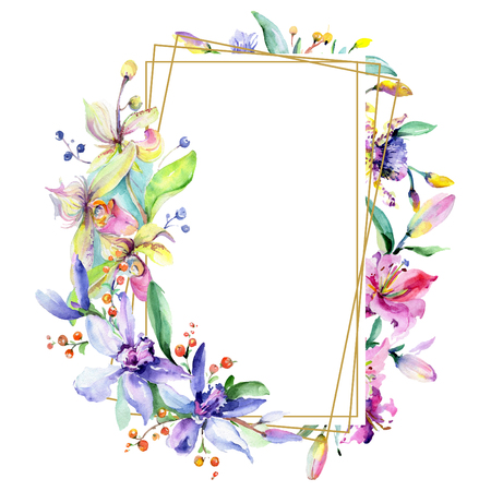 Pink and purple orchid flower. Wild spring leaf wildflower isolated. Watercolor background illustration set. Watercolour drawing fashion aquarelle isolated. Frame border ornament square.