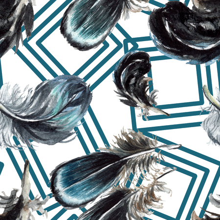 Black feather watercolour drawing. Watercolor bird feather from wing. Aquarelle feather for texture, wrapper pattern, frame or border. Seamless background pattern. Fabric wallpaper print texture. 写真素材 - 117443846