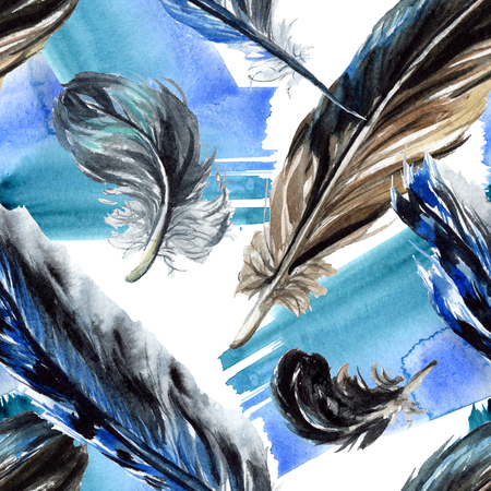 Black feather watercolour drawing. Watercolor bird feather from wing. Aquarelle feather for texture, wrapper pattern, frame or border. Seamless background pattern. Fabric wallpaper print texture.