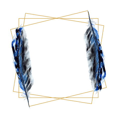 Black feather watercolour drawing. Watercolor bird feather from wing isolated. Aquarelle feather for background, texture, wrapper pattern, frame or border. Frame border ornament square.