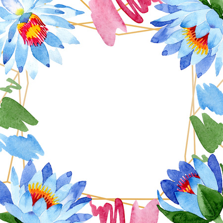 Blue lotus. Floral botanical flower. Wild spring leaf wildflower isolated. Watercolor background illustration set. Watercolour drawing fashion aquarelle isolated. Frame border ornament square.