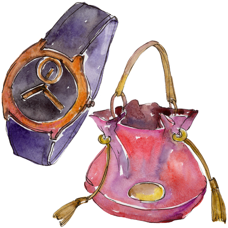 Watch and bag sketch fashion glamour illustration in a watercolor style isolated. Clothes accessories set trendy vogue outfit. Isolated accecorise illustration element. Watercolour drawing.