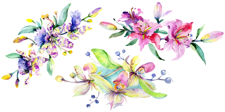 Pink and purple orchid. Floral botanical flower. Wild spring leaf wildflower isolated. Watercolor background illustration set. Watercolour Isolated bouquet illustration element.