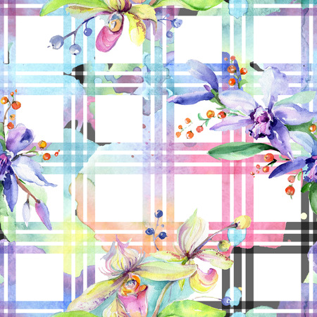Pink and purple orchid flower. Wild spring leaf wildflower. Watercolor illustration set. Watercolour drawing fashion aquarelle isolated. Seamless background pattern. Fabric wallpaper print texture.