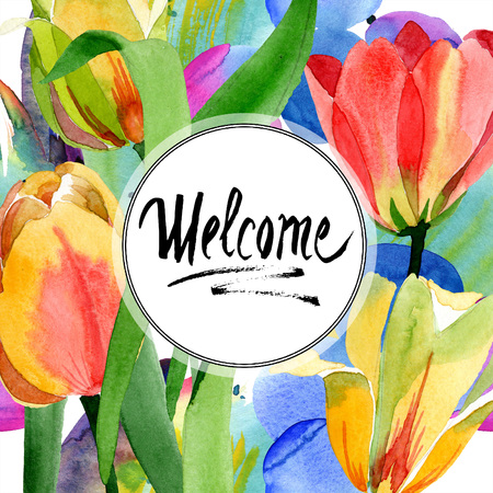 Yellow tulips. Floral botanical flower. Wild spring leaf wildflower isolated. Watercolor background illustration set. Watercolour aquarelle isolated. Frame border ornament square. Welcome calligraphy.