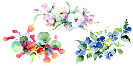 Bouquet floral botanical flowers. Wild spring leaf wildflower isolated. Watercolor background illustration set. Watercolour drawing fashion aquarelle isolated. Isolated bouquet illustration element. Stock Illustration - 117450288
