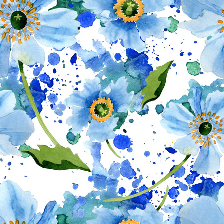 Blue Poppy. Floral botanical flower. Wild spring leaf wildflower isolated. Watercolor background illustration set. Watercolour aquarelle. Seamless background pattern. Fabric wallpaper print texture.