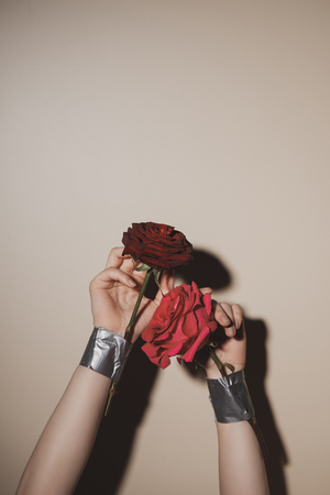 partial view of woman with taped red rose flowers on beige background