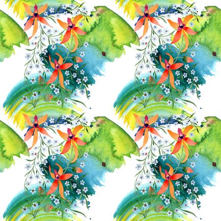 Blue ahd orange floral botanical flower. Watercolour drawing fashion aquarelle isolated. Archivio Fotografico - 117450907