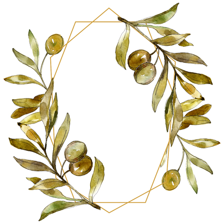 Green olives watercolor background illustration set. Watercolour drawing fashion aquarelle isolated. Green leaf. Leaf plant botanical garden floral foliage. Frame border ornament square. Foto de archivo - 117451121