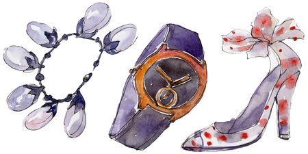 Watch, bracelet and shoe sketch fashion glamour illustration in a watercolor style isolated. Clothes accessories set trendy vogue outfit. Isolated accecories element. Watercolour drawing.