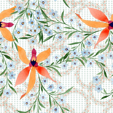 Blue ahd orange floral botanical flower. Watercolour drawing fashion aquarelle isolated. Standard-Bild - 117455055