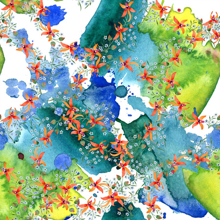 Blue ahd orange floral botanical flower. Watercolour drawing fashion aquarelle isolated. Archivio Fotografico - 117455463