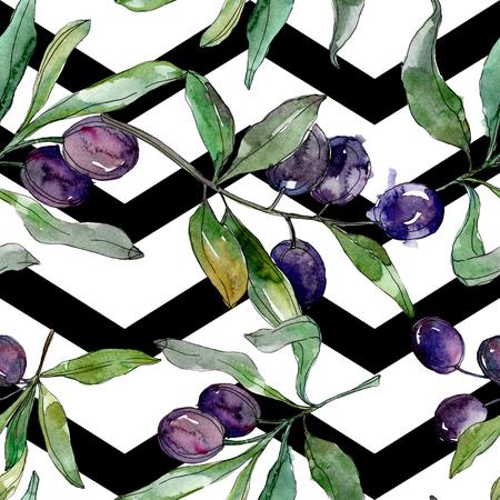 Black olive branch. Green leaf. Plant botanical garden floral foliage. Watercolor background illustration set. Seamless background pattern. Fabric wallpaper print texture. Archivio Fotografico - 117455619