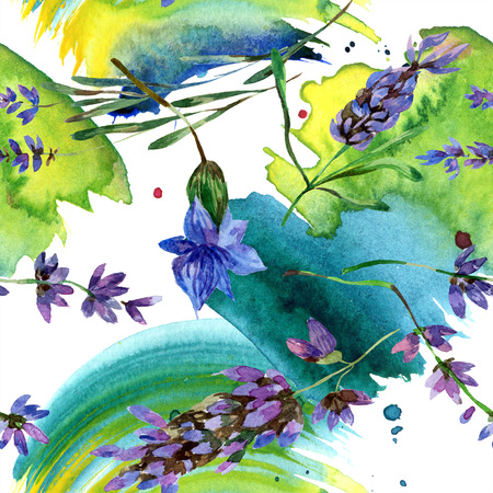 Purple lavender. Floral botanical flower. Wild spring leaf wildflower isolated. Watercolor background illustration set. Watercolour drawing fashion aquarelle isolated. Seamless background pattern. Banque d'images - 117455831