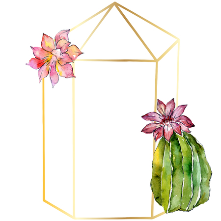 Green cactus. Floral botanical flower. Wild spring leaf crystal isolated. Watercolor background illustration set. Watercolour drawing fashion aquarelle isolated. Frame border ornament square. 스톡 콘텐츠