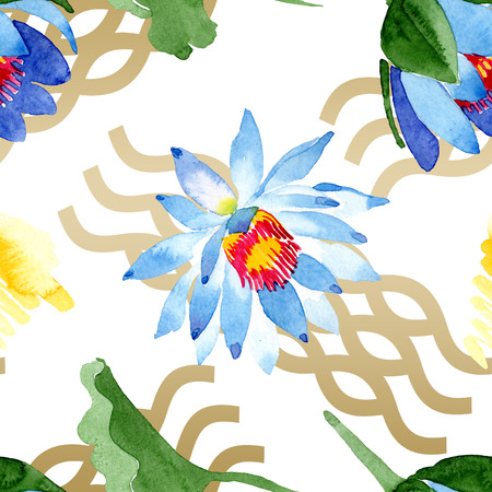 Blue lotus. Floral botanical flower. Wild spring leaf wildflower isolated. Watercolor background illustration set. Watercolour aquarelle. Seamless background pattern. Fabric wallpaper print texture. Stock Photo