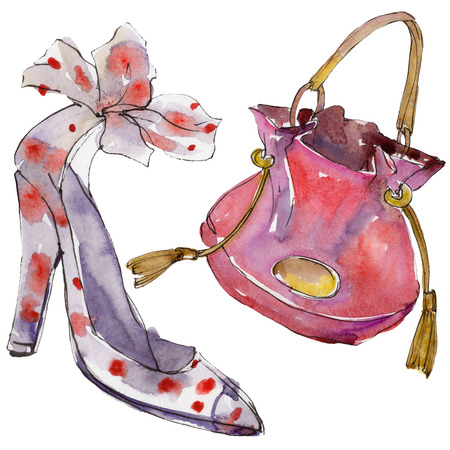 Shoe and bag sketch fashion glamour illustration in a watercolor style isolated. Clothes accessories set trendy vogue outfit. Isolated accecorise illustration element. Watercolour drawing.