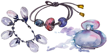 Bracelet and parfum sketch fashion glamour illustration in a watercolor style isolated. Clothes accessories set trendy vogue outfit. Isolated accecories illustration element. Watercolour drawing.