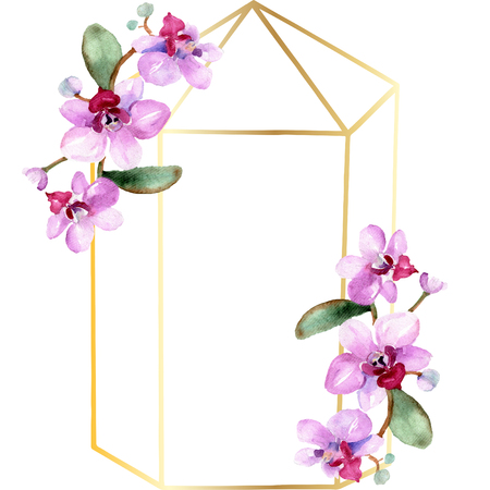 Orchid Floral botanical flower. Wild spring leaf wildflower isolated. Watercolor background illustration set. Watercolour drawing fashion aquarelle isolated. Frame border ornament square. Banco de Imagens