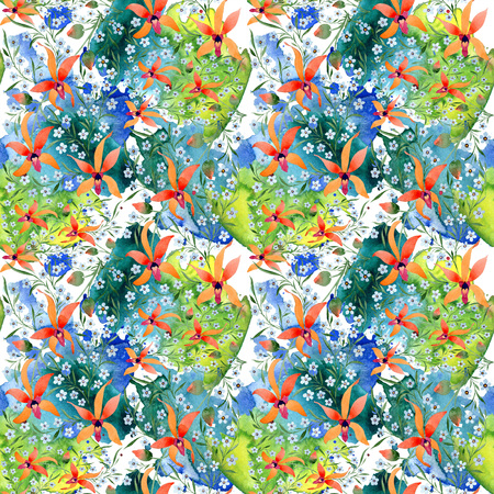 Blue ahd orange floral botanical flower. Watercolour drawing fashion aquarelle isolated. Archivio Fotografico - 117459158