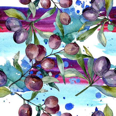 Black olive branch. Green leaf. Plant botanical garden floral foliage. Watercolor background illustration set. Seamless background pattern. Fabric wallpaper print texture.