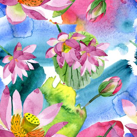 Paarse lotus. Floral botanische bloem. Wild voorjaar blad wildflower geïsoleerd. Aquarel achtergrond afbeelding instellen. Aquarel aquarel. Naadloze achtergrondpatroon. Stof behang print textuur Stockfoto