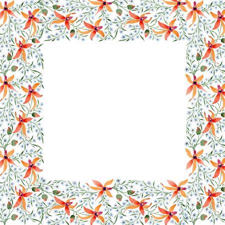 Blue ahd orange floral botanical flower. Watercolour drawing fashion aquarelle isolated. Standard-Bild - 117459287