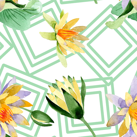 Yellow lotus. Floral botanical flower. Wild spring leaf wildflower isolated. Watercolor background illustration set. Watercolour drawing fashion aquarelle isolated. Seamless background pattern. Stock Photo