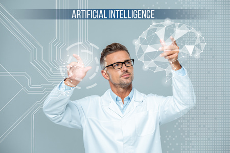 handsome scientist in white coat and glasses moving brain interface, artificial intelligence concept