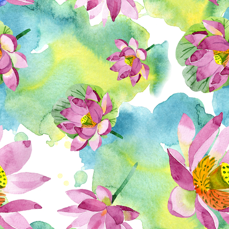 Purple lotus. Floral botanical flower. Wild spring leaf wildflower isolated. Watercolor background illustration set. Watercolour aquarelle. Seamless background pattern. Fabric wallpaper print texture