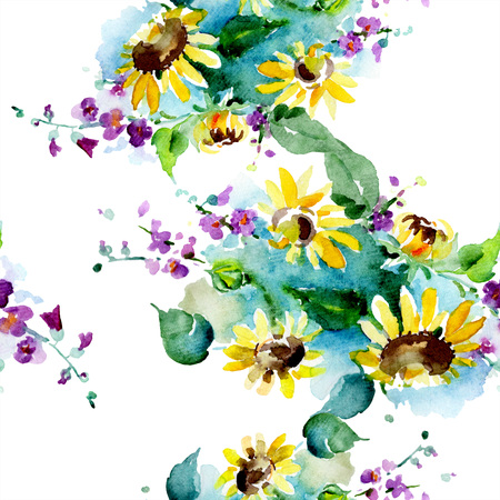 Bouquet floral botanical flowers. Watercolor background illustration set. Watercolour drawing fashion aquarelle isolated. Seamless background pattern. Fabric wallpaper print texture.