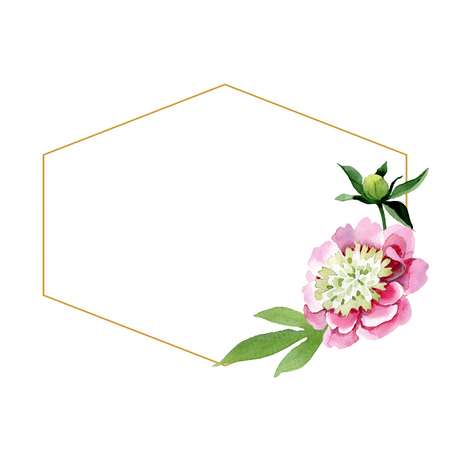 Pink peony watercolor background illustration set. Watercolour drawing fashion aquarelle isolated. Floral botanical flower isolated. Frame border ornament square. Diamond rock jewelry mineral. Stockfoto